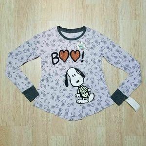 Peanuts M7 8 bGirls T-Shirt Snoopy Skeleton Boo